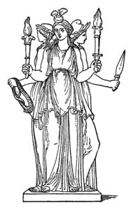 An illustration of the three-fold goddess, Hecate