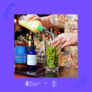 Herbal cocktail in preparation.