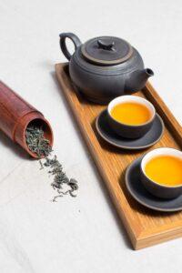 Tea prepared for taste-testing.