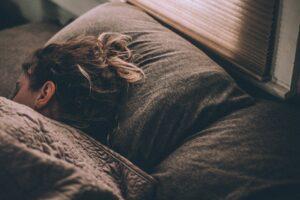 A woman getting a good night's sleep