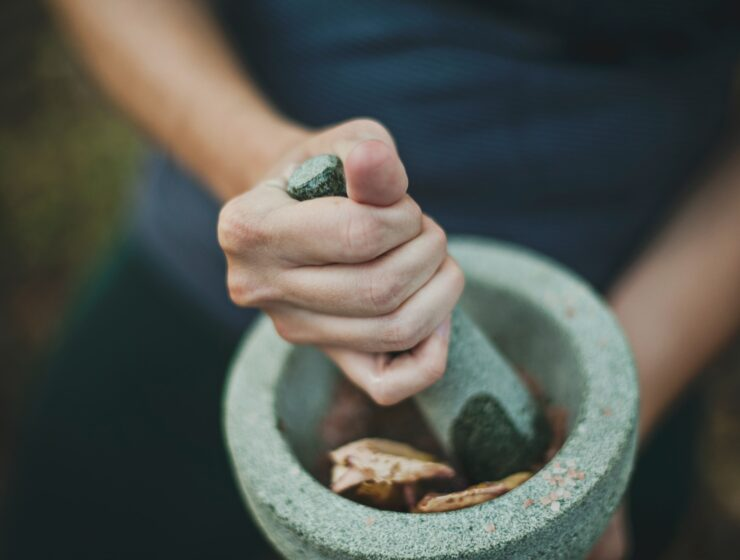 a mortar and pestle grinding up some adaptogens